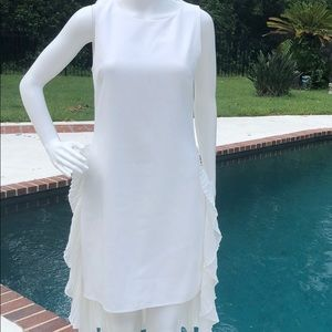NWT After Market white dress with ruffles.